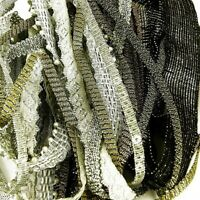 Ribbon Pack,10 x 1 metre lengths  of  Metallic Silver Gold Braid Off Cuts Bundle