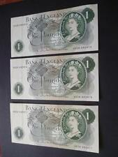 1963 HOLLOM £1 NOTES X3 UNCIRCULATED FIRST SERIES CONSECUTIVE, DUGGLEBY REF.B292