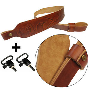 Hunting Deluxe Vintage Leather Rifle Gun Sling with Quick Detach Swivel USA Sell