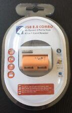 USB 2.0 Memory Card Reader & 2 Ports USB2.0 Hub For TF Micro SD SDHC M2 MS Pro
