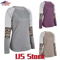 Women Long Sleeve Leopard Printed Patchwork Stripe T-Shirt Tops Blouse Casual US