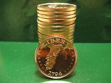 1794 Flowing Hair Dollar 1oz .999 Copper 20 beautiful rounds 1 Roll Plastic Tube