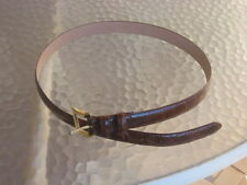 """Nordstrom Brown Leather Belt Reptile Look, Bright Brass Buckle 31 - 35"""" 6227 03"""