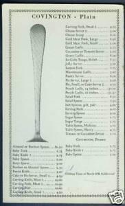1934 Gorham Co. Covington Sterling Silver Price List Flatware