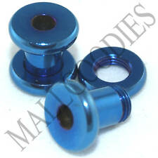 0500 Blue Steel Screw-on/fit Ear Flesh Tunnels Earlets 4 Gauge 4G 5mm Plugs