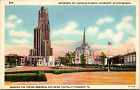 Vtg 1930 Cathedral Of Learning Heinz Chapel University of Pittsburgh PA Postcard