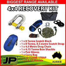 4X4 WINCH RECOVERY KIT BOW SHACKLE SNATCH STRAP BLOCK DRAG CHAIN TOW PULLEY 4WD