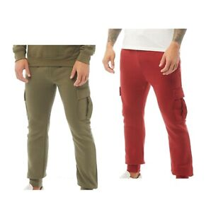 Mens Crosshatch Comfortable Brushback Fleece Cargo Joggers Sizes from S to XXL