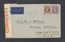 UK 1942/3 THREE WWII CENSORED COVERS SUTTON(2) & EARL'S COURT TO NEW YORK USA