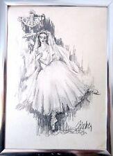 vintage original signed Fischer charcoal pencil ballerina dancer drawing sketch