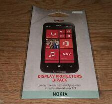 Verizon Cell Phone Smart Display Protectors 3-Pack Nokia Lumina 822 NEW Sealed