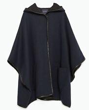Navy Blue Wool Cape Coat with Hood Size M 14 ish by ZARA Heavy Outerwear BNWT