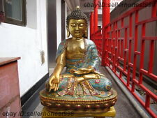 Tibet Bronze Gild handwork Cloisonne Sakyamuni Buddha Shakyamuni  Statue