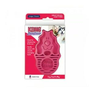 KONG ZoomGroom Dog Puppy Rubber Grooming Brush Pink Blue