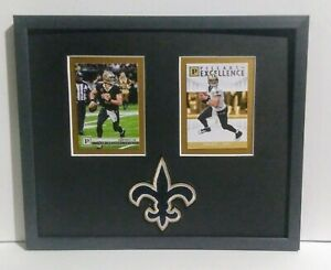 Drew Brees New Orleans Saints Framed 2 Cards and Logo Display