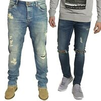 Only & Sons Mens Med Blue Slim Fit Ripped Denim Jeans Stretch Straight Leg 28-36