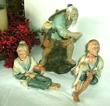 3 VINTAGE CHINESE FIGURES, MUDMAN, PORCELAIN MAN AND WOMAN