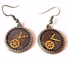 HYPOALLERGENIC BRONZE CLOCK FACE EARRINGS steampunk gear cog gold epoxy hook 4C
