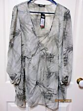 MODA BLOUSE LONG SLEEVED GREY FLORAL SIZE 24