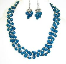 Aqua Blue and Silver Beaded Multi Strand Necklace and Earrings Set - NEW