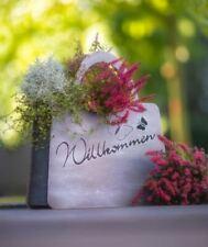 Patina Grau Pflanz-Tasche mit Schmetterling Willkommen klein 24 x 20 cm Garten