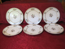 """Set of 6 Nippon 9 7/8"""" Dinner Plates Featuring Flowers and Center Bouquet w/ Bow"""