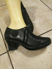 DANSKO Women's Banks Heel Booties Black Leather Pumps Size 39 US 8.5-9