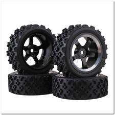 4x RC1:10 On Road Car Black Alloy 5 Spoke Wheel Rim + Flower Pattern Rubber Tyre