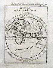 Mundo, Hemisferio Oriental, zonas climáticas. A. Mazo Original Antiguo mapa 1719