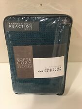 NEW, COTTON BLEND, Kenneth Cole Reaction Teal Waffle FULL / QUEEN blanket