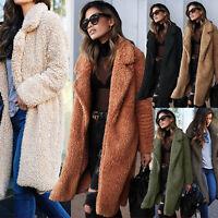 Women Winter Teddy Bear Pocket Fluffy Coat Fleece Fur Jacket Warm Outwear Parka