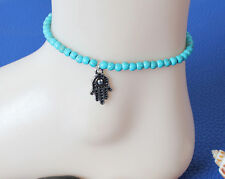 Hot Charming Turquoise Beads Hamsa Fatima Hand Anklet Ankle Bracelet Foot Chain