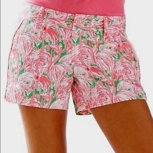 """NWT Lilly Pulitzer $64 3"""" Walsh Short Size 2 Prep Green Pink Colony Small #19279"""