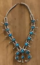 Navajo Native American Sterling Silver Turquoise Squash Blossom Beaded Necklace