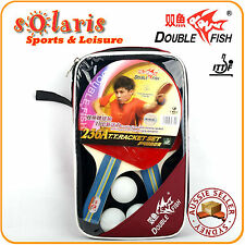 Double Fish 236A Premium 2 Players Table Tennis Bats+3 Balls+Cover Set Shakehand