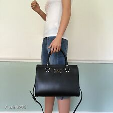 NEW! KATE SPADE Wellesley Leather Satchel Tote Shoulder Bag Purse Black