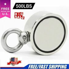 500LBS Fishing Magnet Round Double Sided Super Strong Neodymium Magnets N52