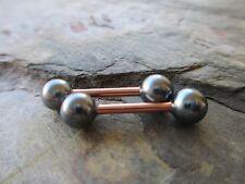 Faux Grey Pearl Rose Gold Bars Full Set Barbell Nipple Piercings Tongue Rings