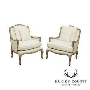 Restoration Hardware French Louis XV Style Pair Marseilles Bergere Chairs