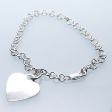 Vintage  Silver 925 Bacelet with Heart Charm Pendant