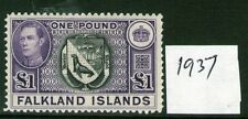 FALKLAND ISLANDS £1 H93a Black/Dull voilet 1st Issue . hinged, Cat.£175 verified