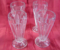 Ice Cream Sundae Clear Glasses Float Parfait Soda Fountain Tall Set of 4 Vintage