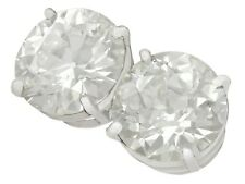 Antique and Contemporary 6.02ct Diamond and Platinum Stud Earrings