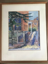 "Helen Wightman 1936 ""Street Scene"" Watercolor Painting - Signed And Framed"