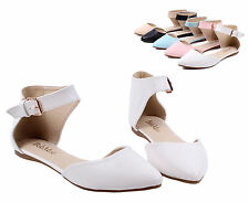 White nn Ankle Strappy Point Toe Casual Women Ballet Flats Dress Shoes Size 9