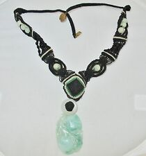 "20"" Old Chinese Necklace w/ Carved Green & White JADEITE Jade Pendant & Beads"