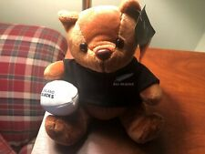 "Rugby All Blacks Teddy Bear Holding Ball Black And White- 7"" Tall- New Zealand"