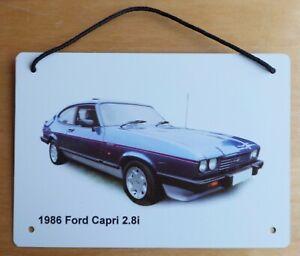 Ford Capri 2.8 Injection 1986 (Blue) - A5 (210 x 148mm) Aluminium Plaque