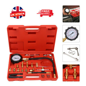Universal Fuel Injection Gauge Pressure Tester Test Kit Car System Pump Tool