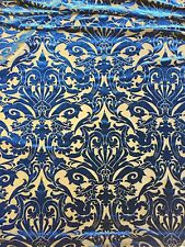 Navy Damask Burnout 4 Way Stretch Velvet Fabric - BTY - 60